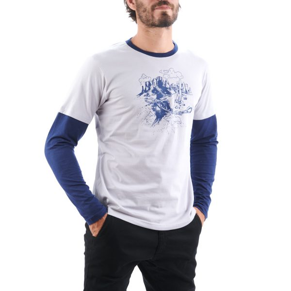 MEN TSHIRT COMMITTED GREY/BLUE